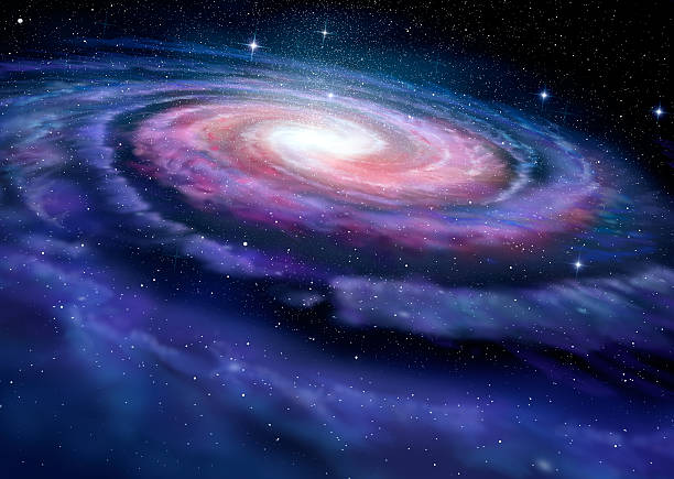 Spiral galaxy, illustration of Milky Way bildbanksfoto