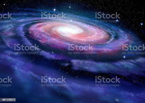 Photo of Spiral galaxy, illustration of Milky Way
