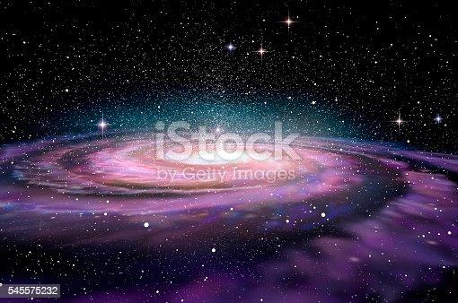 Spiral Galaxy in deep spcae, 3D illustration