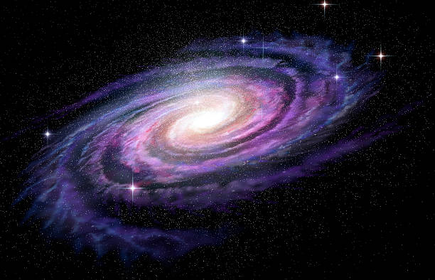 Spiral Galaxy in deep spcae, 3D illustration bildbanksfoto