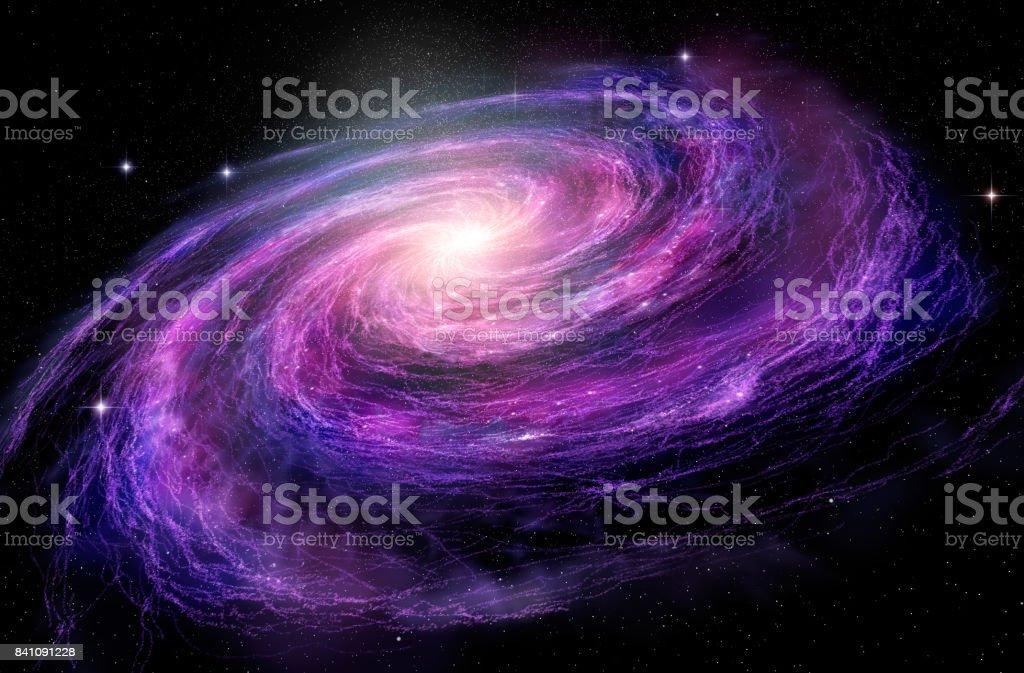 Spiral Galaxy in deep spcae, 3D illustration stock photo