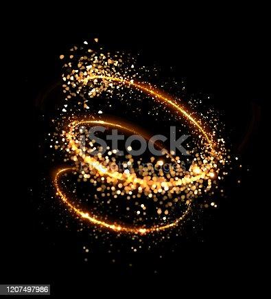 Spiral glitter gold black background. 3d image, 3d rendering.