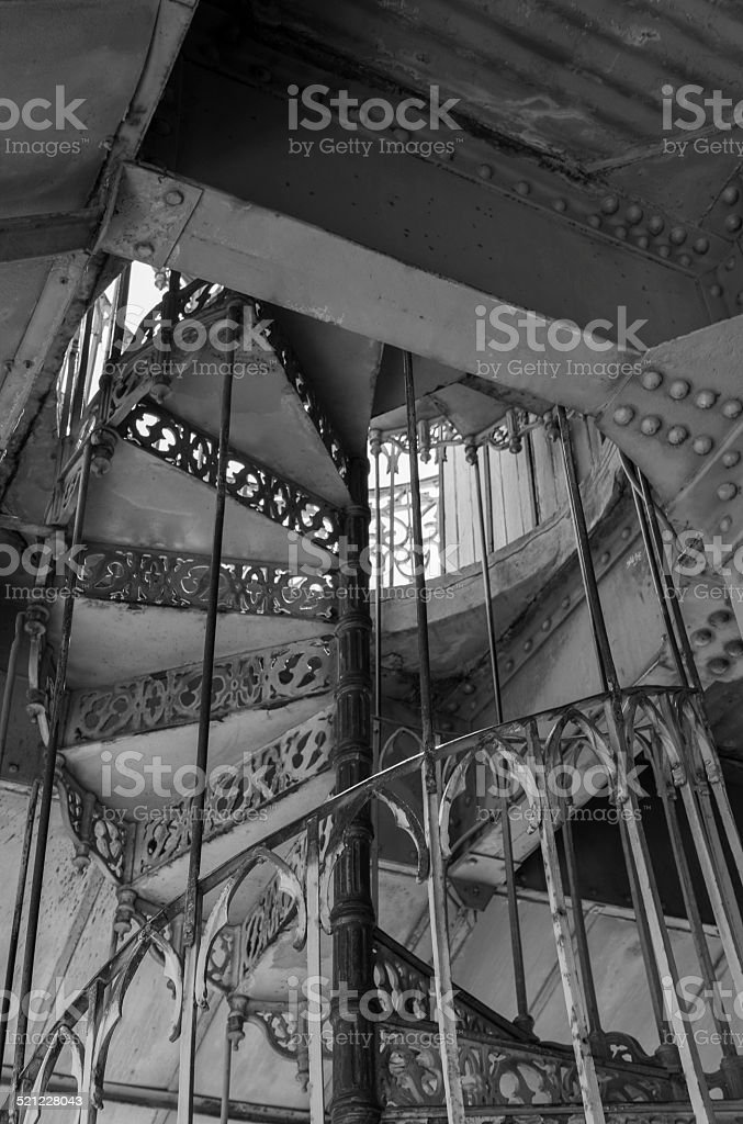 Spiral iron staircase at the Santa Justa Elevator completed 1901 royalty-free stock photo