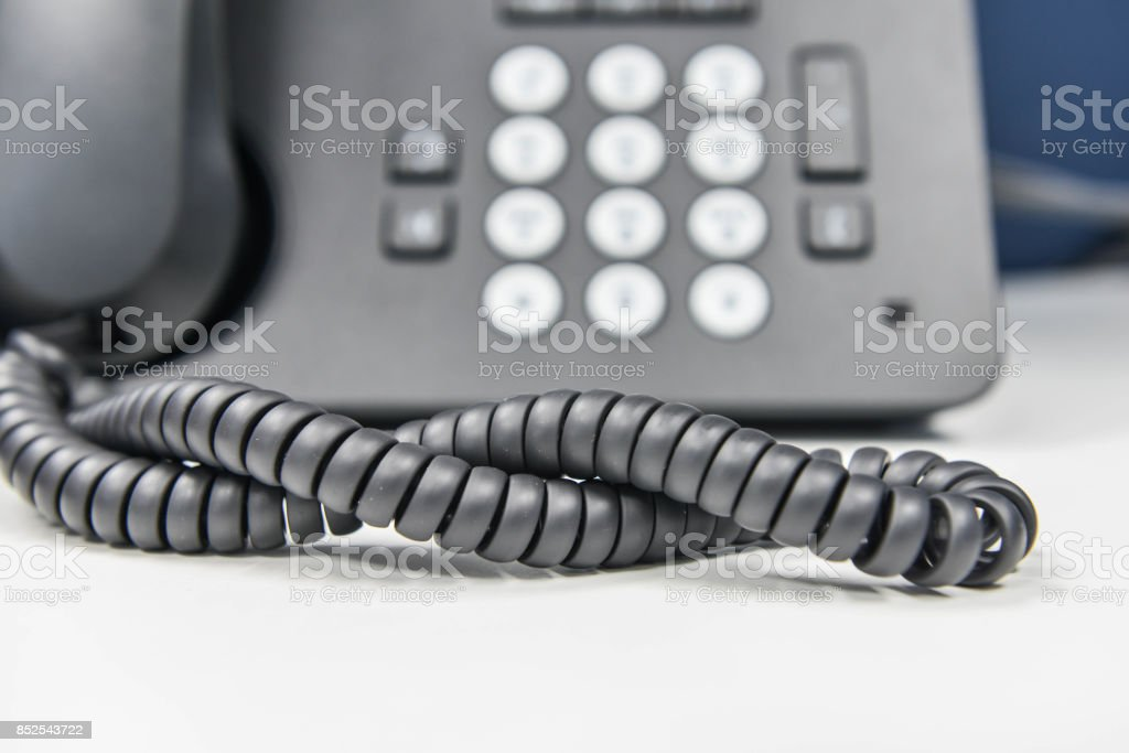 Spiral line of IP Phone stock photo