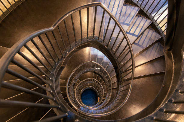Spiral metal staircase top view stock photo