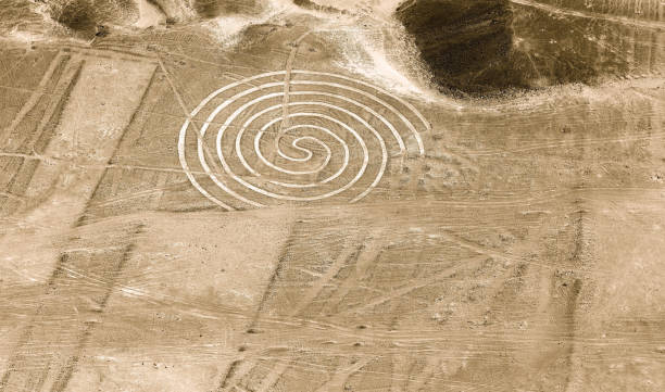 Spiral, Nazca Lines, Peru stock photo