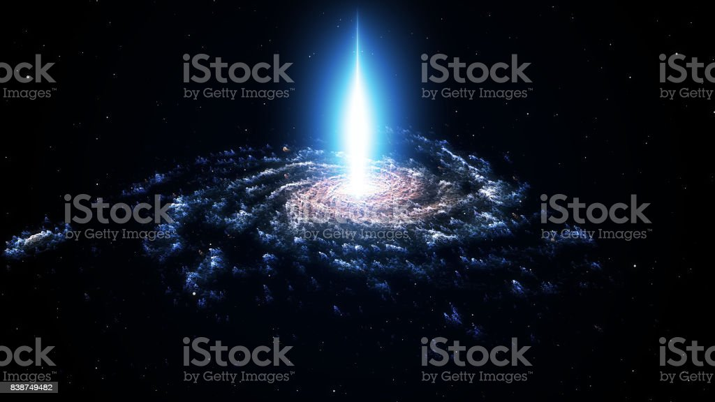 Spiral nebula and light ray in deep space with stars stock photo