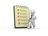 Spiral Note Pad with Check List and Business Character Running - 3D Rendering