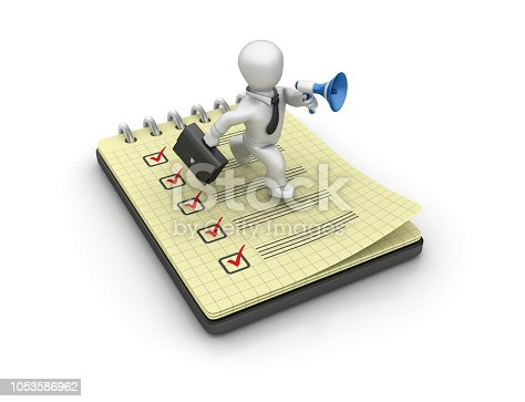 537516368 istock photo Spiral Note Pad with Check List and Business Character Running with Megaphone - 3D Rendering 1053586962