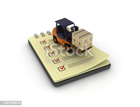 istock Spiral Note Pad with Check List and Forklift Truck - 3D Rendering 1052163510