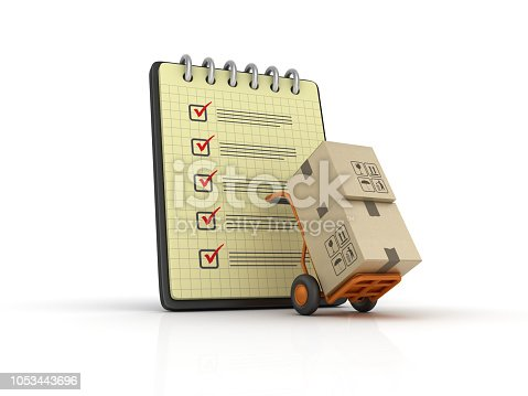 istock Spiral Note Pad with Check List and Hand Truck - 3D Rendering 1053443696