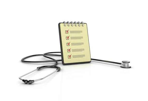 Spiral-Notizblock mit Checkliste und Stethoskop - 3D Rendering – Foto