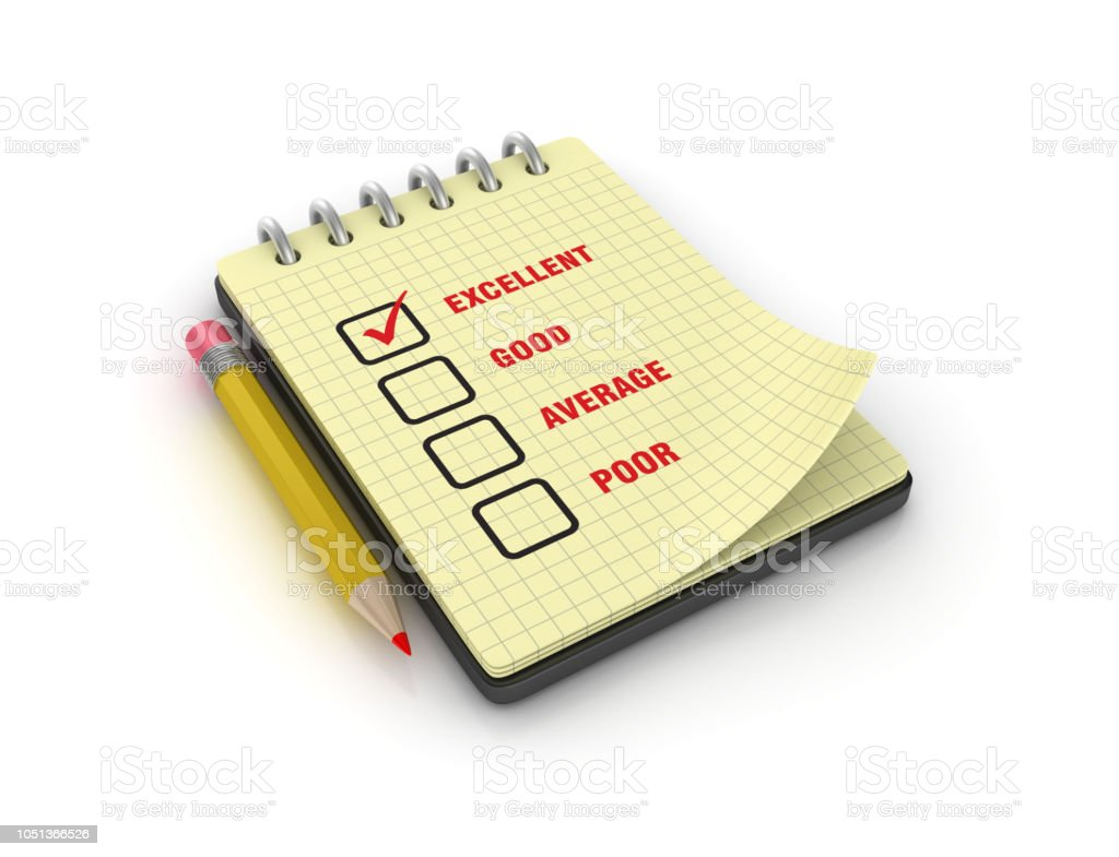 Spiral Note Pad with Excellent Good Average Poor Survey Check List...