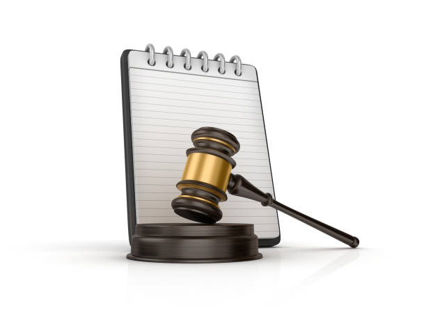 Spiral Note Pad with Gavel - 3D Rendering - foto stock
