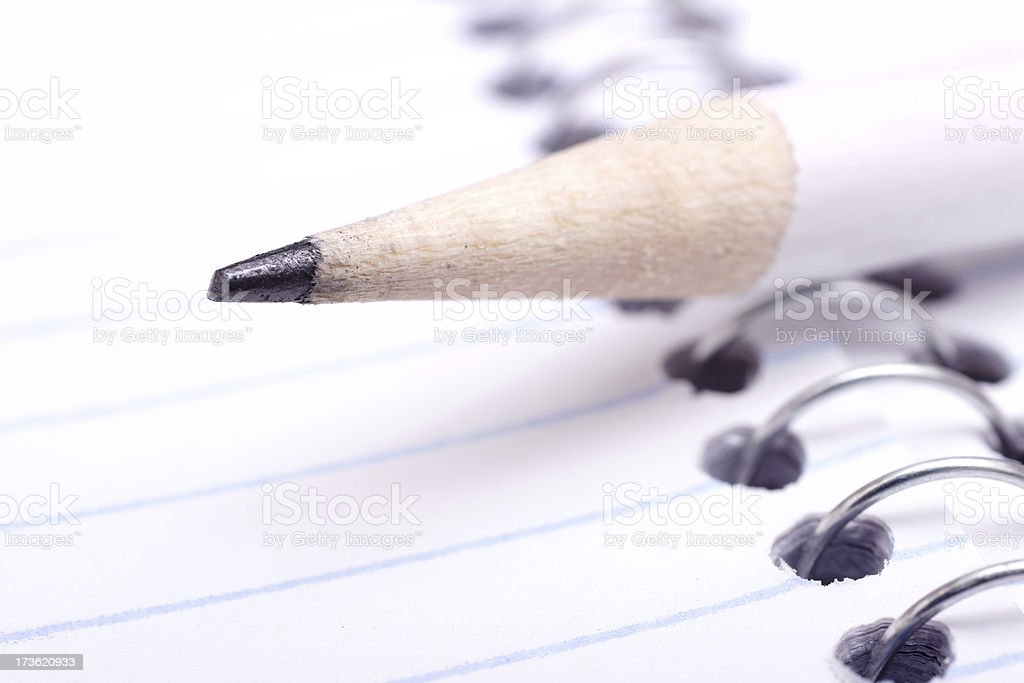 spiral notebook and pencil royalty-free stock photo