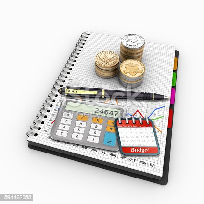 istock Spiral notebook on the topic of economics and finance 594462358