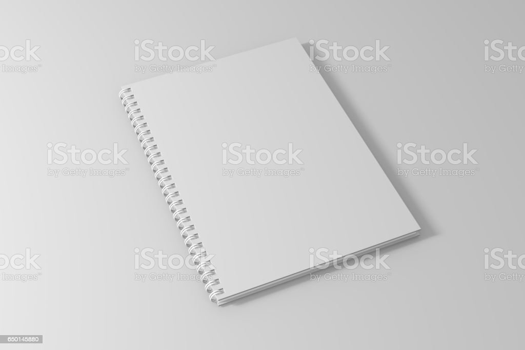 spiral notebook template on clean white background. 3d illustrated stock photo