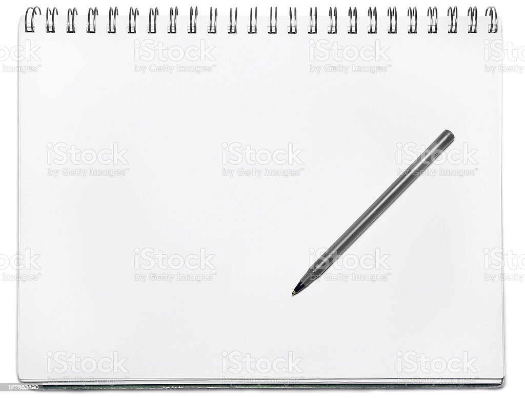 Spiral notebook with pen stock photo
