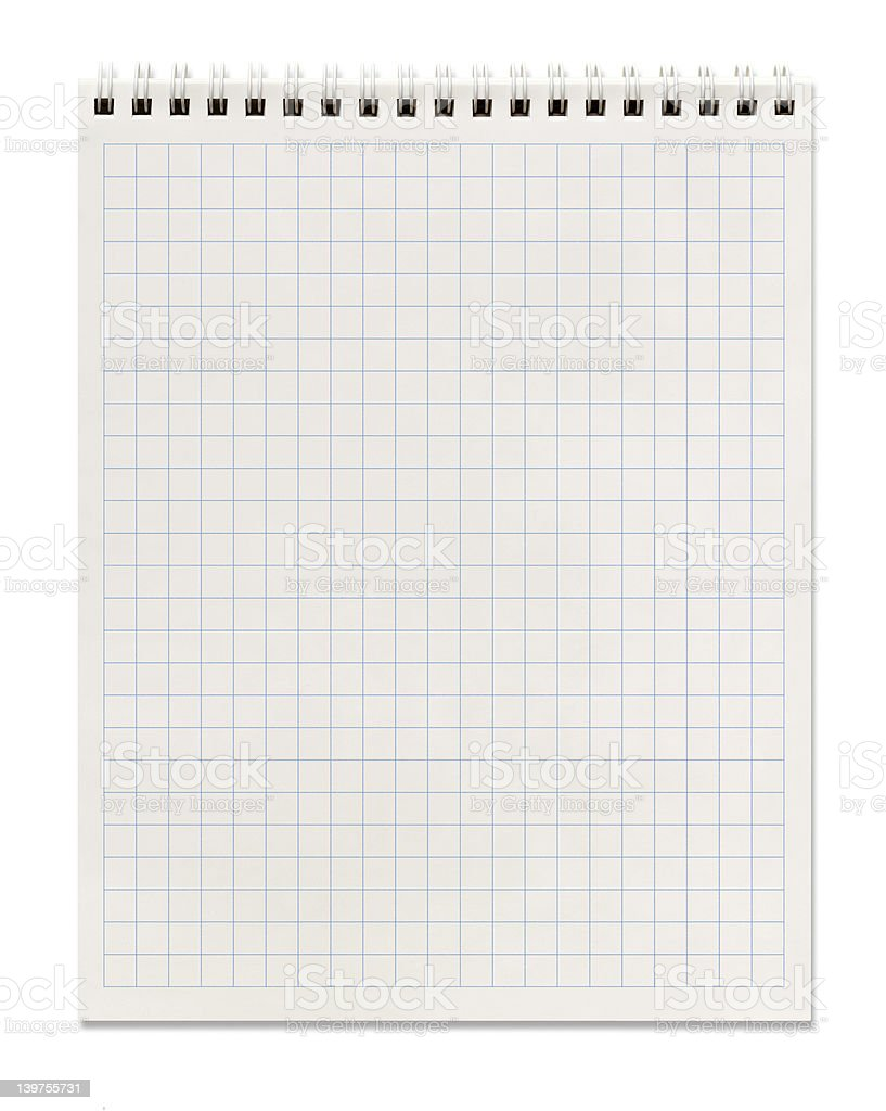 Spiral notebook with squared paper isolated on white royalty-free stock photo