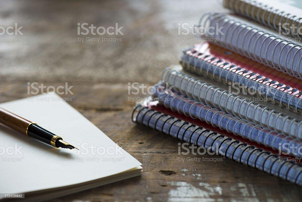 Spiral notebooks on a desk royalty-free stock photo