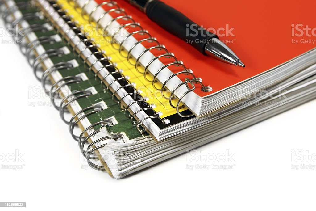 Spiral notebooks with pen royalty-free stock photo
