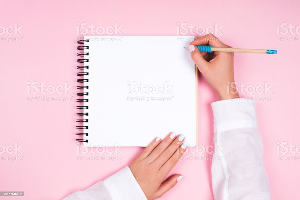 Spiral notepad with pencil as mockup for design stock photo