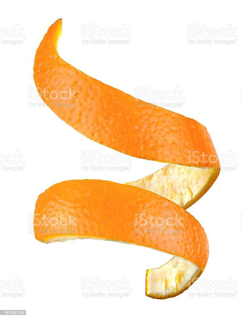 Spiral orange peel isolated stock photo