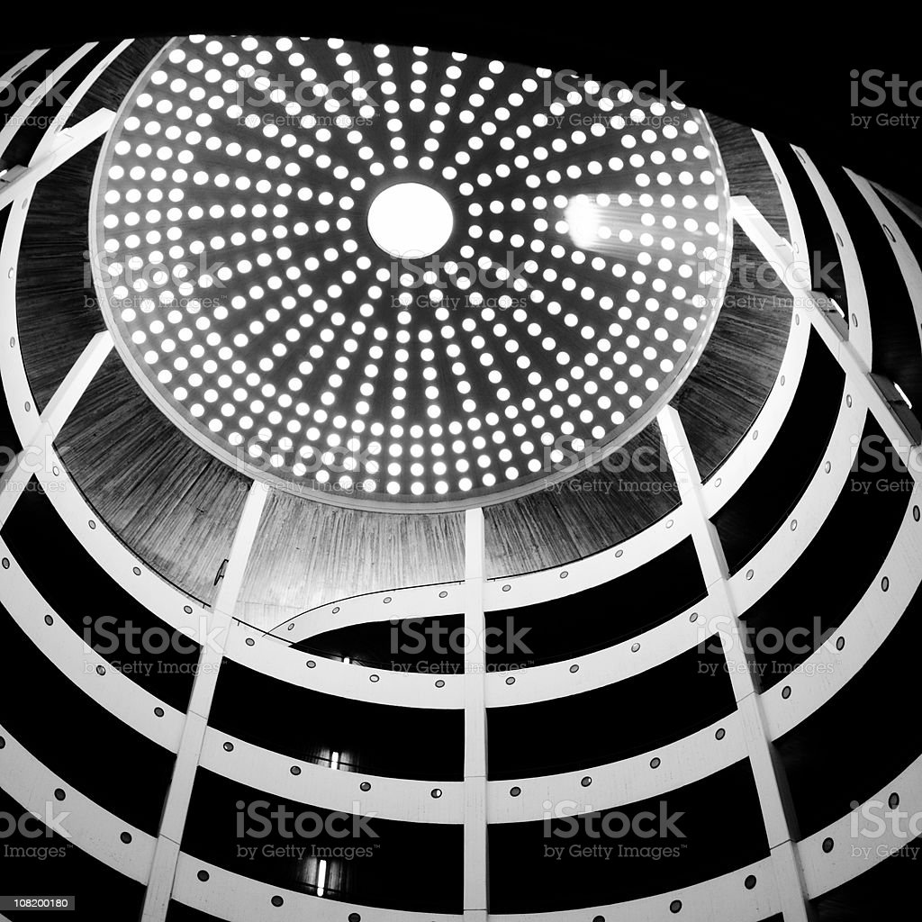 Spiral Parking Garage with Dome at Top, Black and White royalty-free stock photo