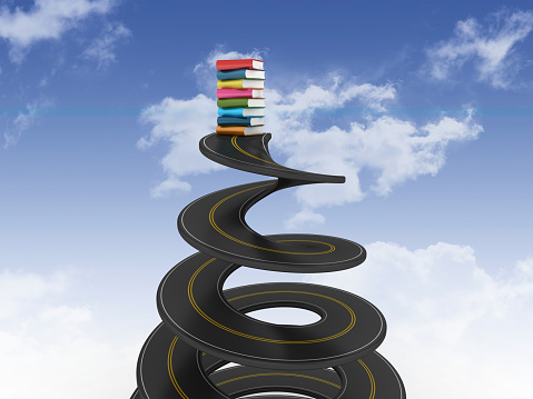 Spiral Road with Books on Sky - 3D Rendering