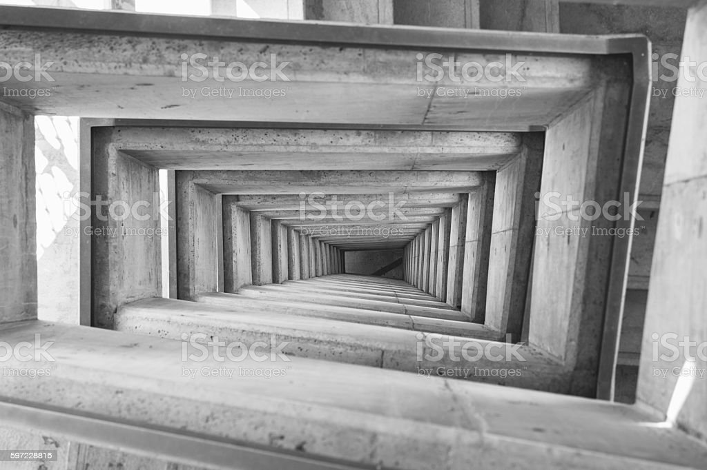 Spiral square stairs viewed from above stock photo