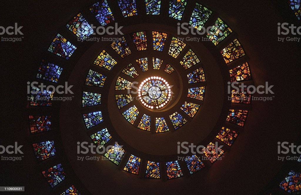 Spiral Stained Glass Windows stock photo