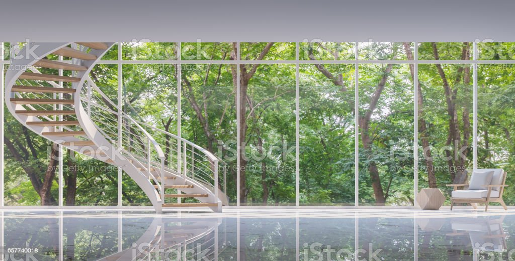 Spiral stair in the glass house 3D rendering image stock photo