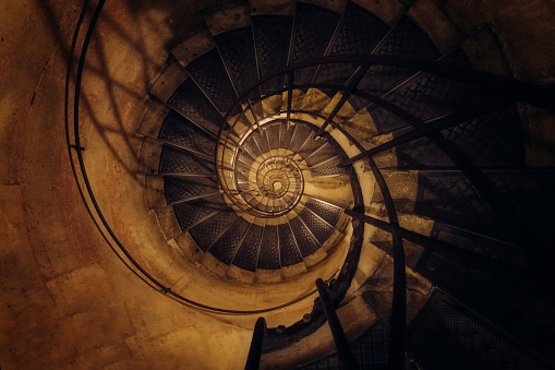 Spiral staircase, Arc de Triomphe, Paris, France