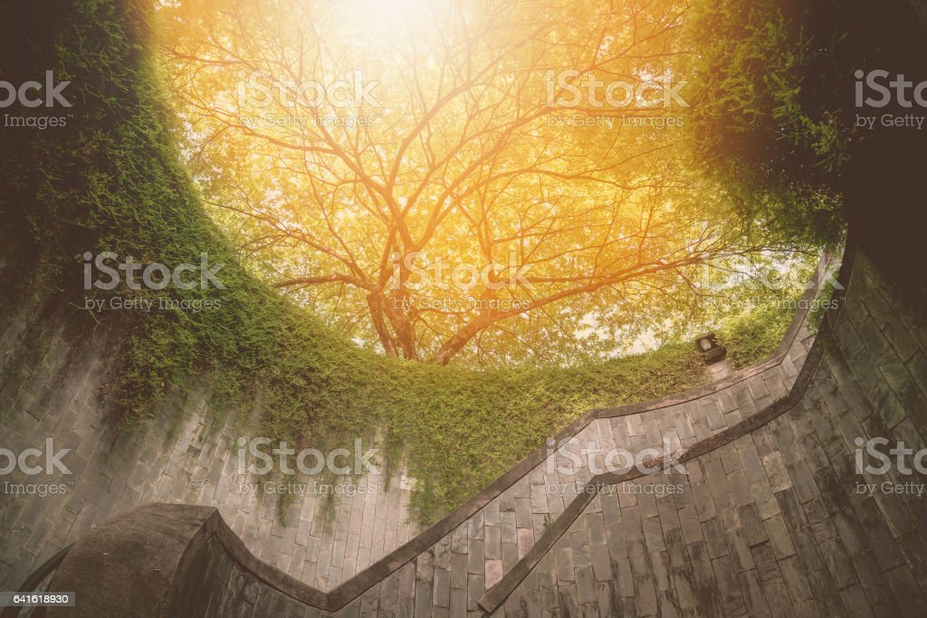 Spiral staircase at Fort Canning Park, Singapore. Vintage tone stock photo