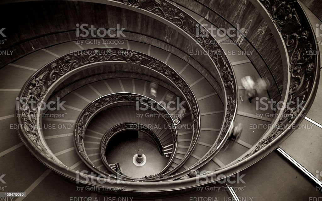 Spiral Staircase At The Vatican Museums In Rome stock photo