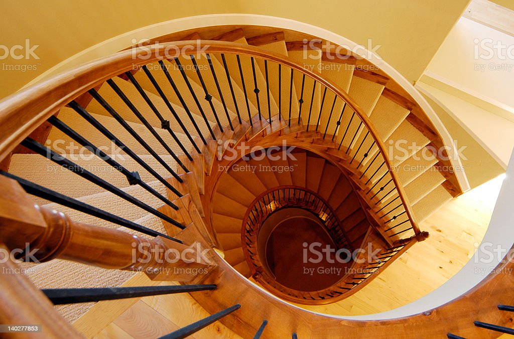 Spiral Staircase Down stock photo