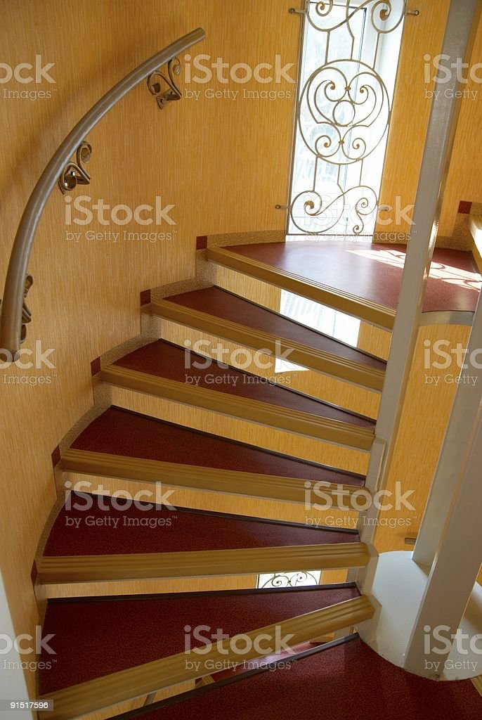 Spiral staircase in a house. royalty-free stock photo