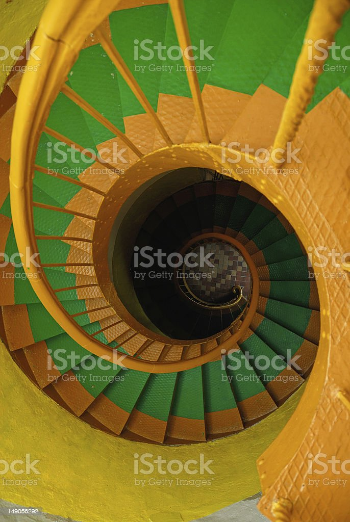 Spiral staircase in old lighthouse royalty-free stock photo