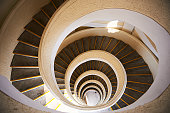 Artistic spiral staircase seen from above, Vallettacity, Malta