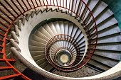 Rome, Italy - December 19th, 2015: The famous and old spiral staircase. that leads to the exit of the vatican museum inside the vatican city. The Vatican Museums are among the greatest museums in the world.