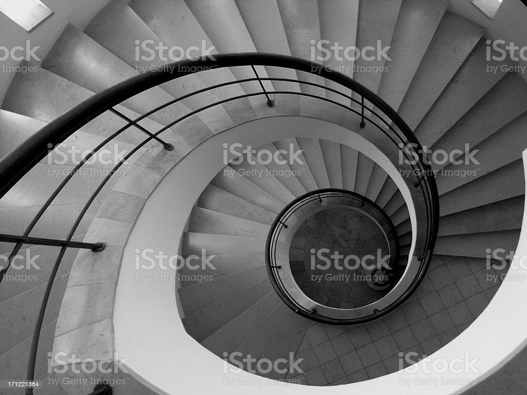 Spiral staircase in a home.