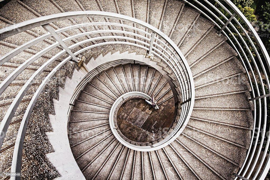 Modern concrete spiral staircase.