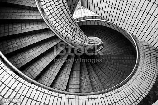 High angle view of an old spiral staircase.