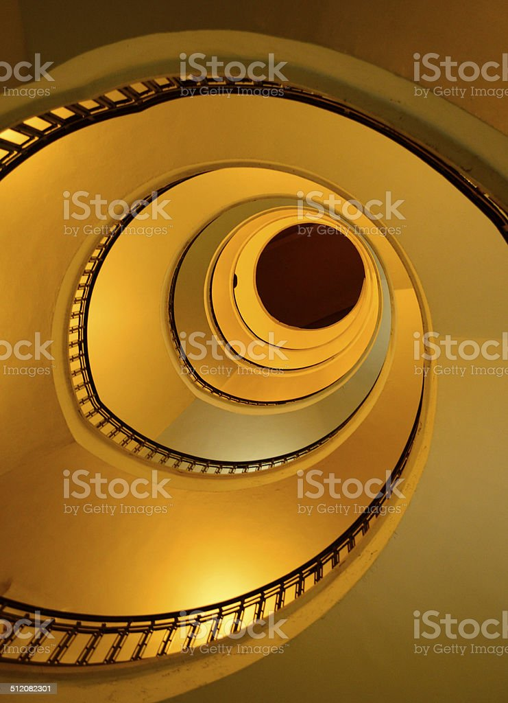 spiral staircase viewed from botton to top