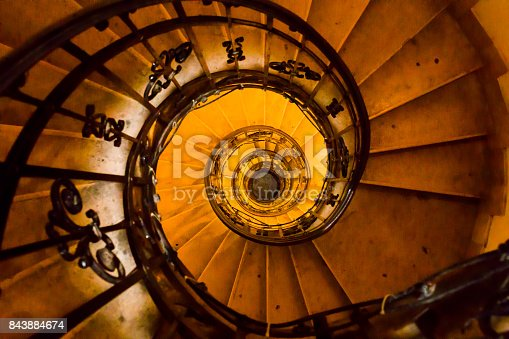 Spiral staircase to the bell tower of St. Stephen's Cathedral.  St. Stephen's Cathedral is the most important church building in Hungary, one of the most significant tourist attractions and the third highest church in Hungary.