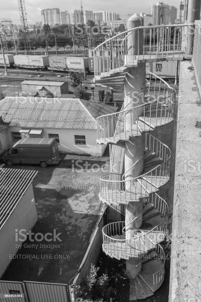 spiral staircase to the bridge royalty-free stock photo