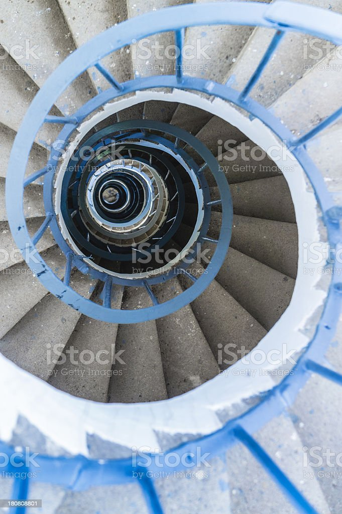 Spiral Staircase, Tower Interior, Blue Railing, Directly Above Royalty Free  Stock Photo