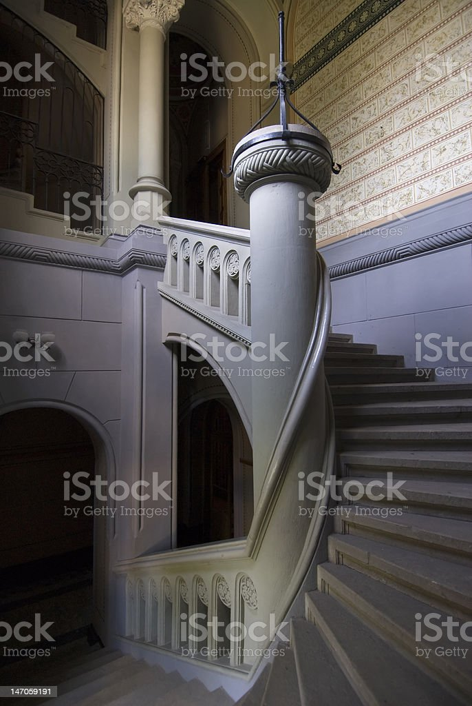 Spiral staircase with column royalty-free stock photo