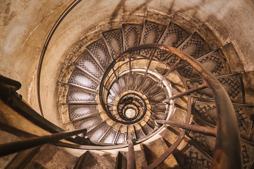 Spiral Staircase Architecture. View from directly above. Slightly Toned. Arc de Triomphe Architecture, Paris, France, Europe