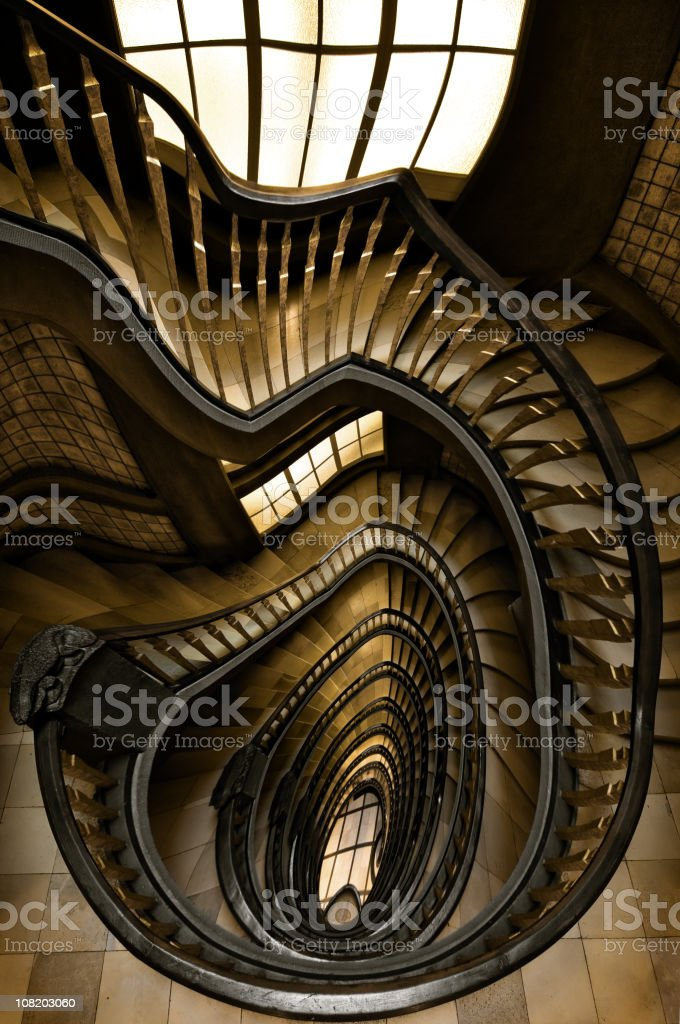 Spiral Staircase with Ripple Effect stock photo